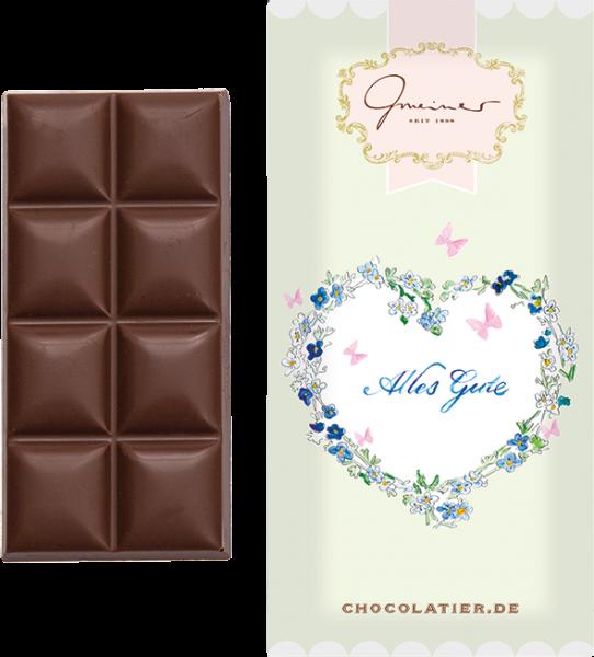 Gmeiner Vollmilchschokolade mit und ohne Verpackung