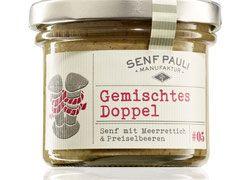 Gemischtes Doppel -Senf mit Meerettich & Preiselbeeren 110ml