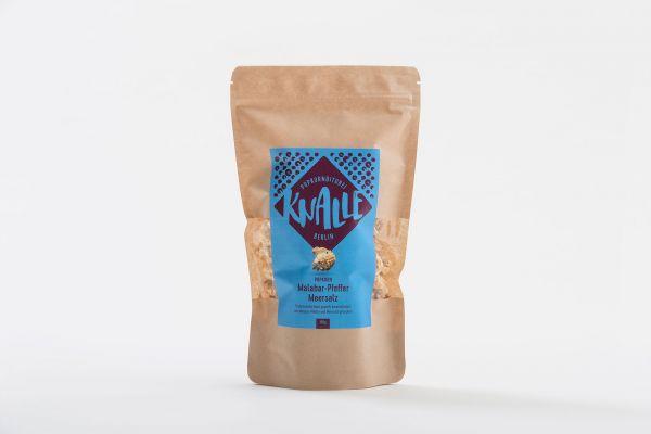 Fein salziges Gourmet-Popcorn verfeinert mit Malabar-Pfeffer und Meersalz