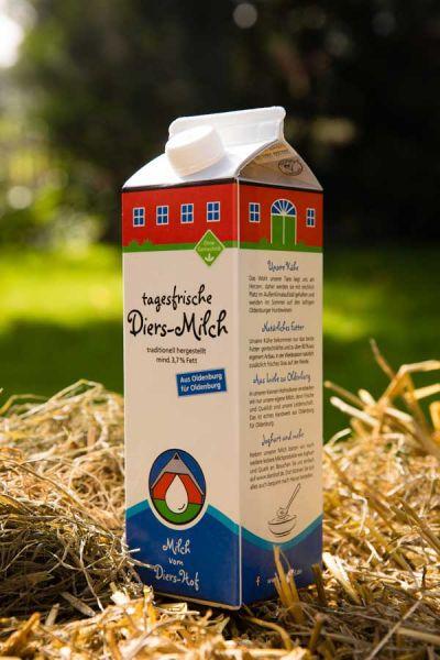 Diers Milch, 3,7% - 1 Liter - zum Frühstück