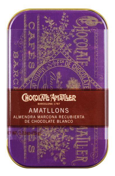 Amatllons - schokolierte Mandeln - lilafarbene Dose 35g