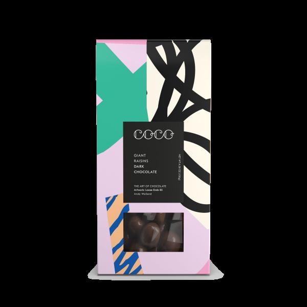 Riesenrosinen ummantelt von dunkler Schokolade