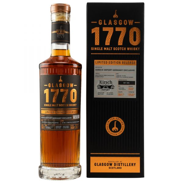 Glasgow 1770 Limited Edition Release Single Malt Scotch Whisky  First Fill Oloroso Sherry Cask Fassnr. 15/165